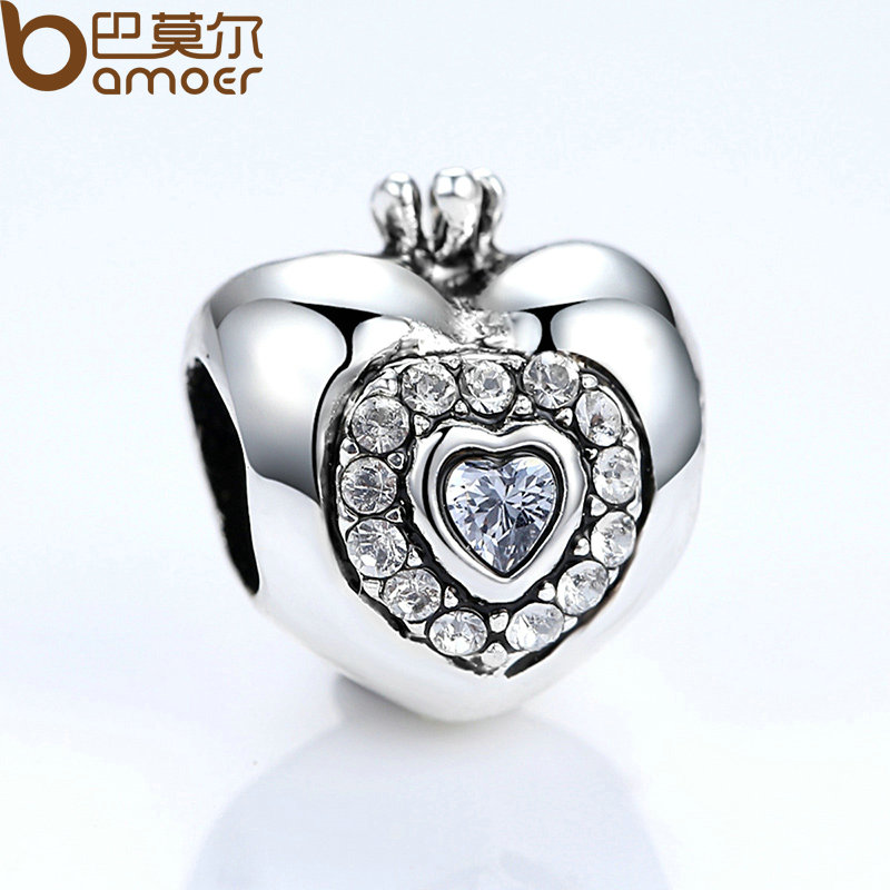 BAMOER Brand New Heart With Crown Charms For Women Pendant & Necklace Fashion Jewelry Party Accessories PA5301