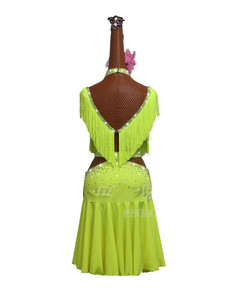 Image 3 - New Green Tassel Latin Dance Dress Women Competition Performance Clothing High end Fluorescent Green Fringed Skirt Costumes