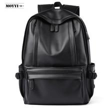 MOYYI 2019 Hot Sale Waterproof 14 inch Laptop Backpack Men Leather Backpacks for Teenager Travel Casual Daypacks Mochila Male
