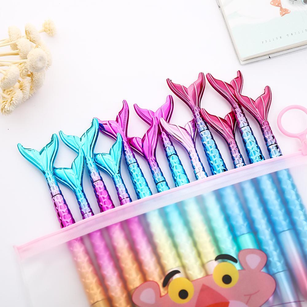 10Pcs/pack Colorful Rainbow Mermaid Gel Pen Blue Cute Sea Animal Fish Creative Stationery Pencil Bag Case Wedding Kit Stationary