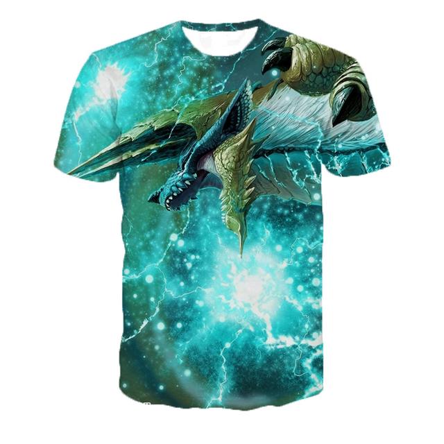 Monster Hunter Game World Creative 3D Print T-Shirt Unisex Funny Short Sleeve Top Hip-hop Custom Tshirt Oversized Dropshipping
