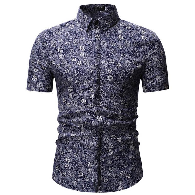 2020 Men Shirt Summer Style Palm Tree Print Beach Hawaiian Shirt Men Casual Short Sleeve Hawaii Shirt Chemise Homme 3XL 23 Color