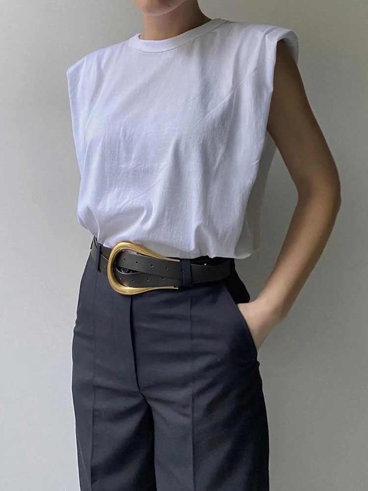 2020 여성 za 패션 솔리드 95% 코튼 숄더 패드 티셔츠 빈티지 o 넥 민소매 탑 캐주얼 걸스 Streetwear