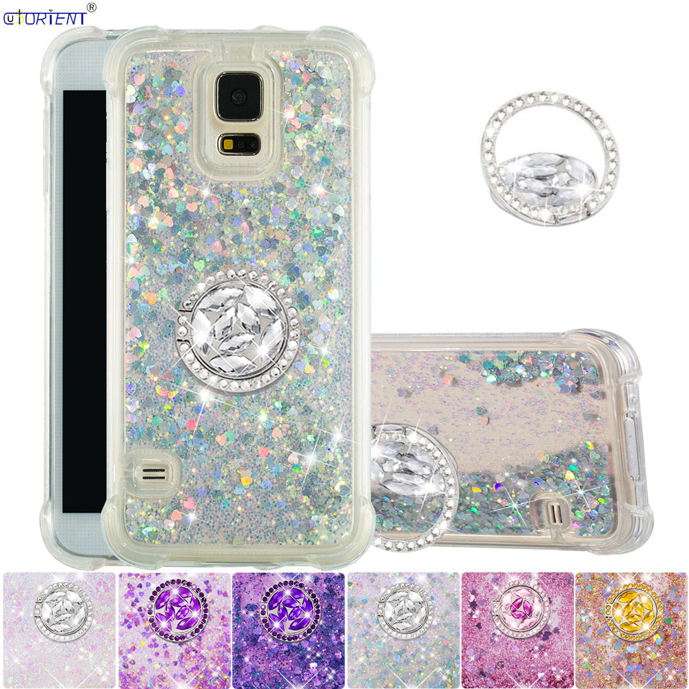 Glitter Diamond Ring Case for Samsung Galaxy S5 Neo Cute Bling Liquid Quicksand Bumper Cover S 5 5S SM-G900F SM-G900H SM-G903F(China)