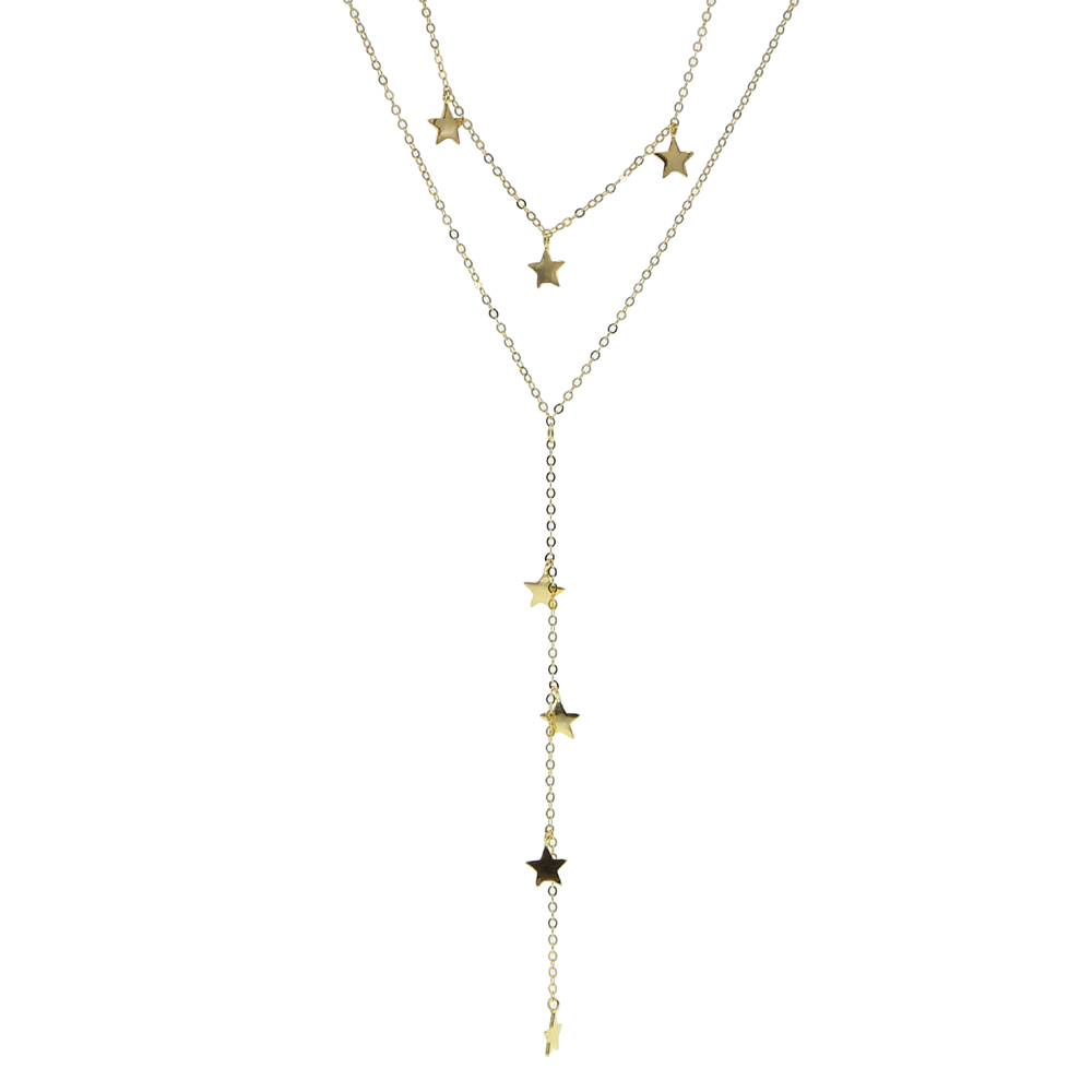 925 sterling silver star charm Y shape gold silver color link chain necklaces sexy women long lariat multi layed necklace