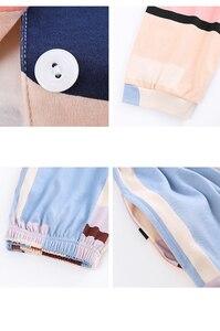 Image 5 - BZEL Mới Nữ Set Bộ Tay Dài Quần Dài Đồ Ngủ Dép Nữ Homewear Loungewear Hoạt Hình Váy Ngủ Pijama Bộ Pyjama