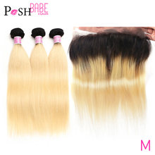 Ombre 1B 613 Blonde Frontal and Bundle Brazilian Straight Hair Bundle with Closure Remy Human Hair Bundles with 360 Lace Frontal(China)
