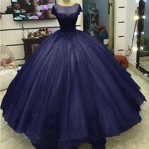 Женское платье с коротким рукавом Angelsbridep, темно-синее платье из фатина с аппликацией, модель 15 Anos, 2019
