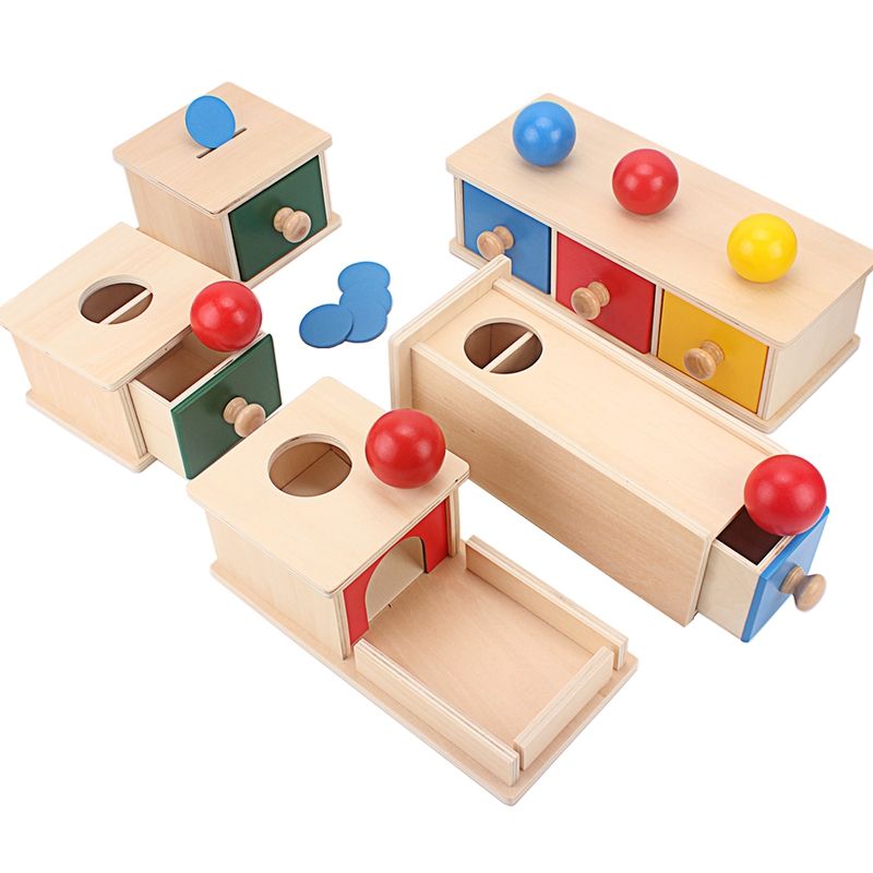Montessori Wood Match Permanent Box Toddler Infant Draw Box 8-12 Month Toys for Baby Newborn Gift Hand & Feet Finders Small Size(China)
