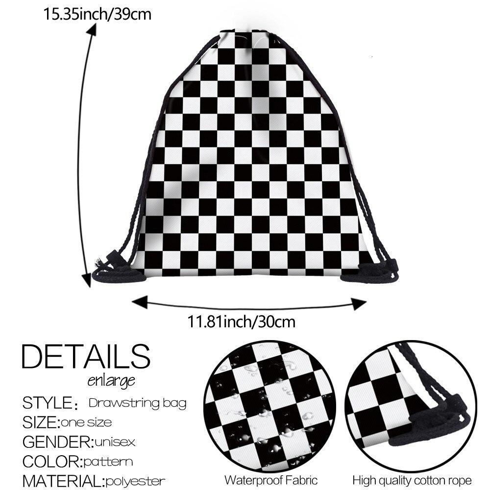 Hae36665d1c2647e7b8b7969b513ab4fd9 Deanfun Women 3D Printing Drawstring Bag Black White Geometric Backpack Travel Softback Mens Backpacks 28316