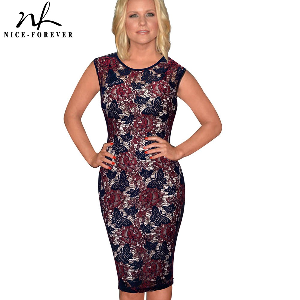 Nice-forever Vintage Elegant Floral Lace With Lining Vestidos Sleeveless Bodycon Sexy Slim Women Dress S09