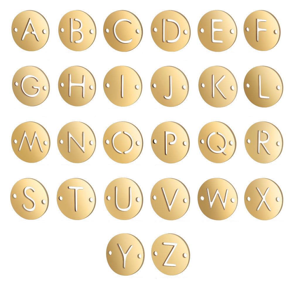 A-Z 26 Letters Gold Pendant Necklace Stainless Steel Jewelry Bracelet DIY Alphabet Jewelry Bracelet Connector Wholesale