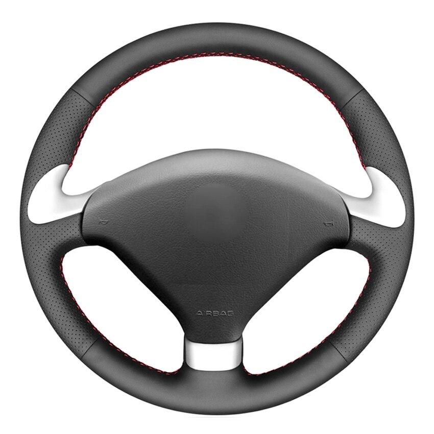 Черный PU искусственная кожа сшитый вручную чехол рулевого колеса автомобиля для Peugeot 307 CC 2004-2009 307 SW 2004-2009 407 407 SW 2004-2009