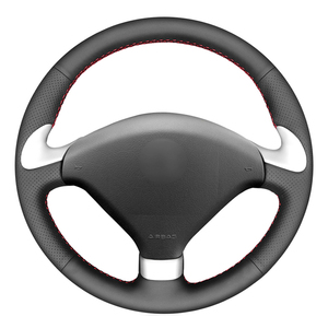 Black PU Faux Leather Hand-stitched Car Steering Wheel Cover for Peugeot 307 CC 2004-2009 307 SW 2004-2009 407 407 SW 2004-2009(China)