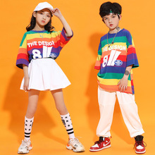Loose Rainbow Stripes T-shirt White Skirt Pants for Boys Girls Summer School Uniforms Kids Hip Hop Costumes Jazz Dance Clothes