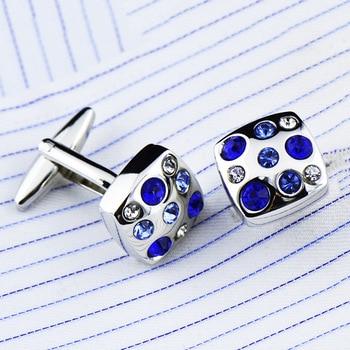 Royal blue/ Skye Blue High Grade Simple Crystal Cuff Links 2
