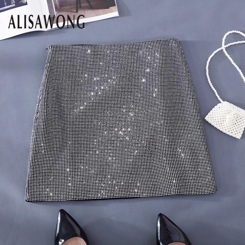 Streetwear High Waist Skirt Women 2019 New Spring Autumn Female Slim Sequins Mini Black Pencil Skirt