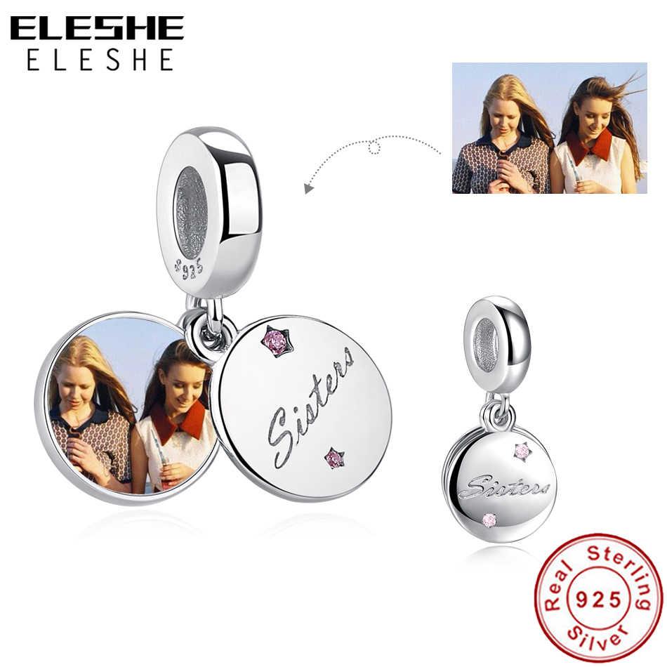 ELESHE 925 Sterling Silver Personalizzato Foto Bead Per Sempre Sorella di Fascino Del Pendente Adatti Originale Pandora Braccialetto di Gioielli FAI DA TE