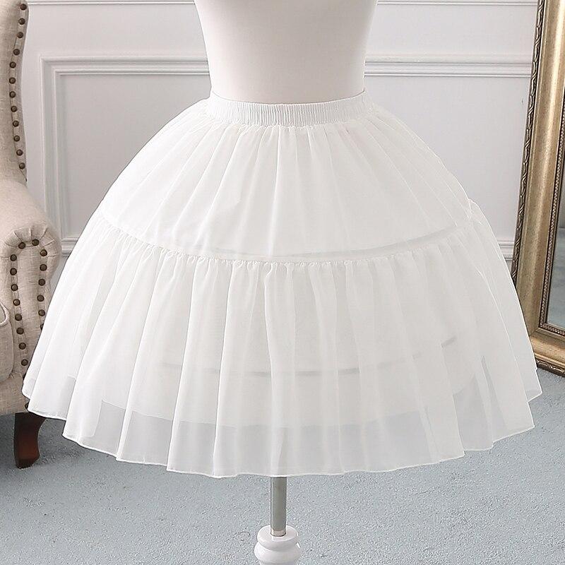 Lolita Petticoat New Chiffon Ivory Black Hoop Skirt Short Enaguas De Mujer Pretty Jupon Mariage