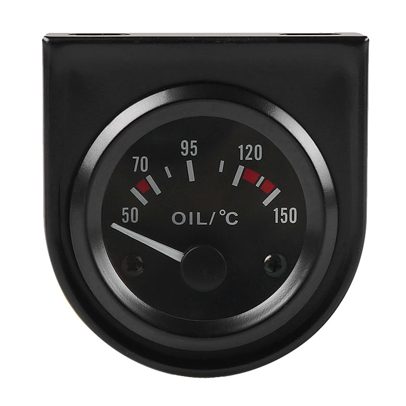 2 inch 52mm 12V White LED Pointer Car Oil Temp Temperature Gauge with Sensor Black