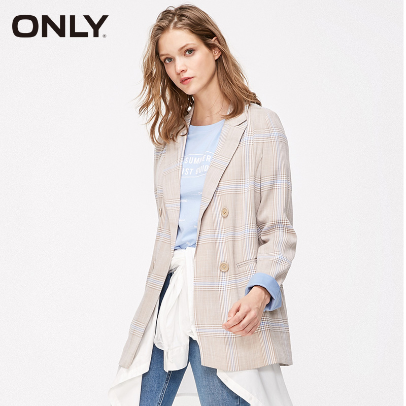ONLY Women's Summer Loose Fit Checked Suit Jacket|119108549