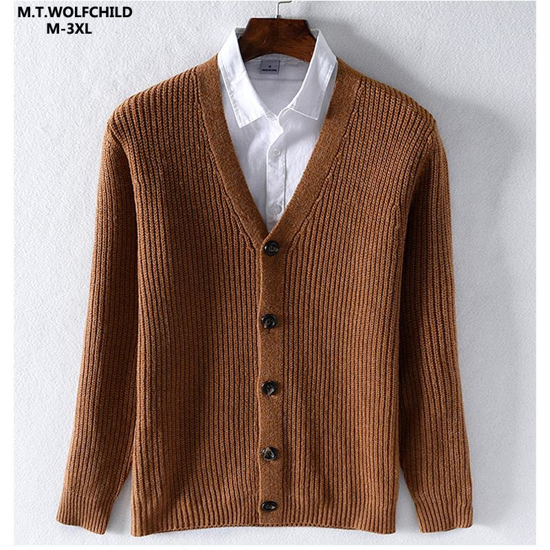 High Quality 2019 Autumn Winter Mens Long Sleeve V-neck Knitted Sweaters Casual Woolen Knitted Thick Mens Sweaters Mens Coats