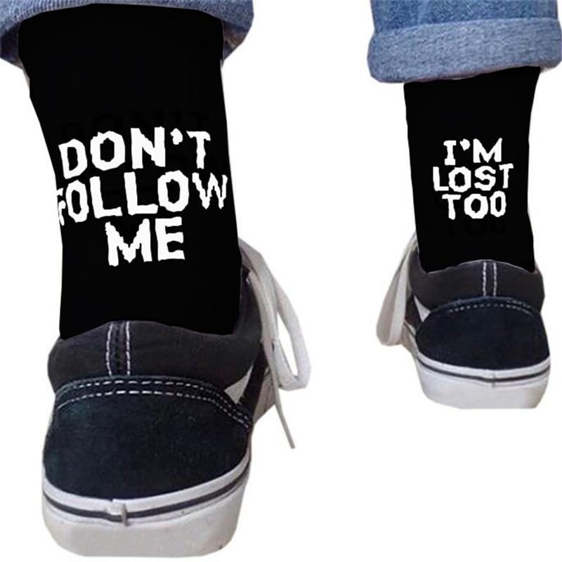 Drop Ship Autumn Winter Men Funny Harajuku Humor Word Printed Socks Creative Hip Hop Street Skateboard Unisex Crew Happy Sock