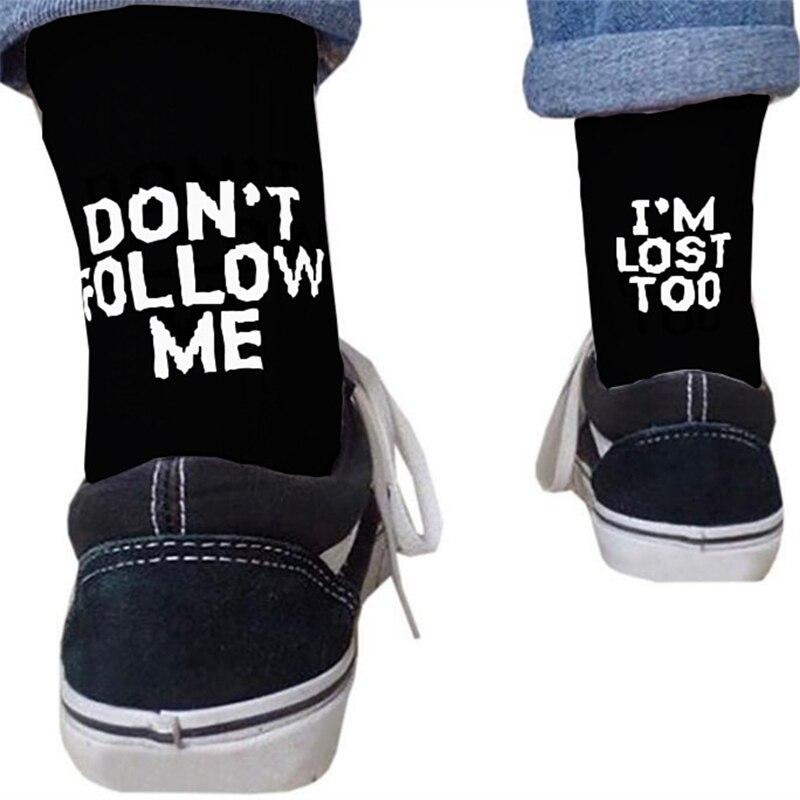 Drop ship men funny socks Harajuku humor word printed socks summer creative Hip hop street skateboard Unisex Crew Happy sock