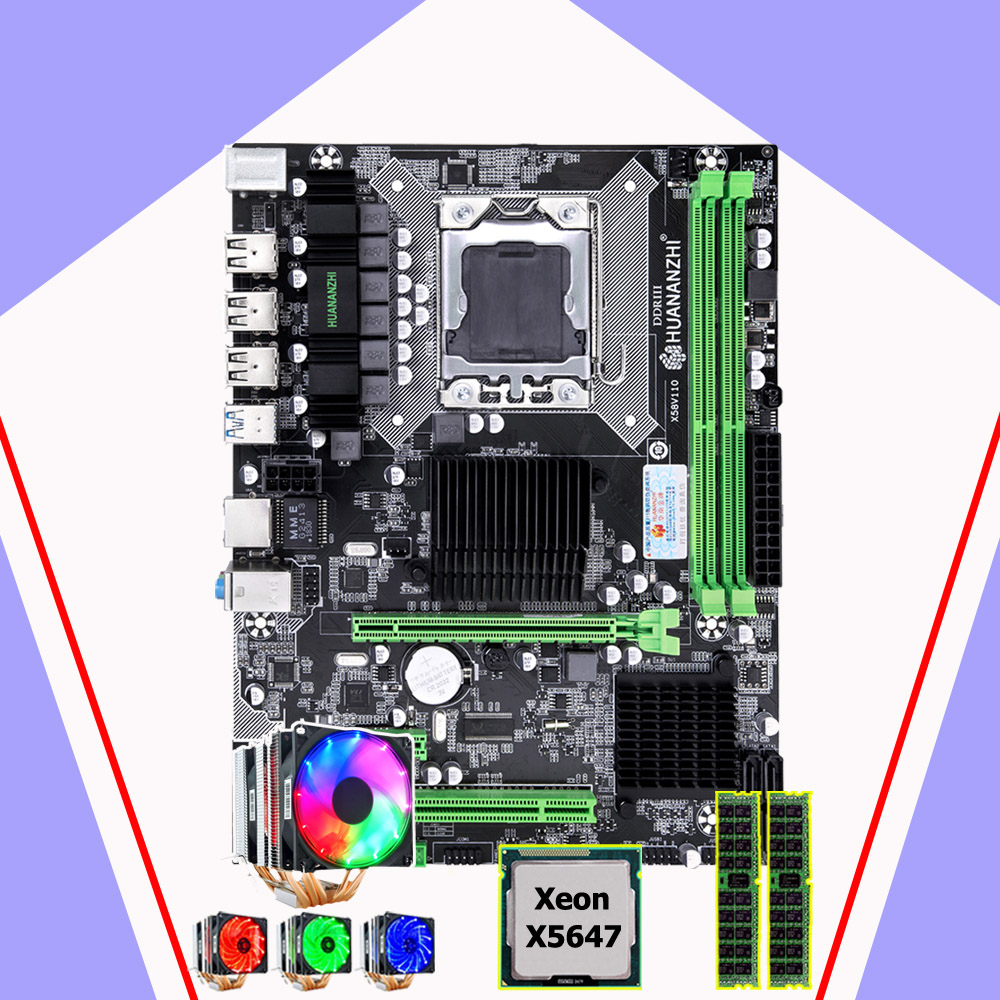 HUANANZHI X58 Pro Motherboard CPU RAM Set Brand Motherboard With CPU Intel Xeon X5647 2.93GHz 6 Heatpipes Cooler RAM 32G(2*16G)
