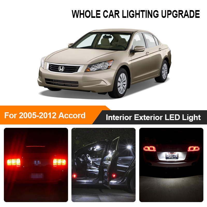 White Amber Car Bulbs Exterior Interior LED Light For 2005 2006 2007-2012 <font><b>Honda</b></font> <font><b>Accord</b></font> Reverse Brake Parking Turn Signal Lamp image