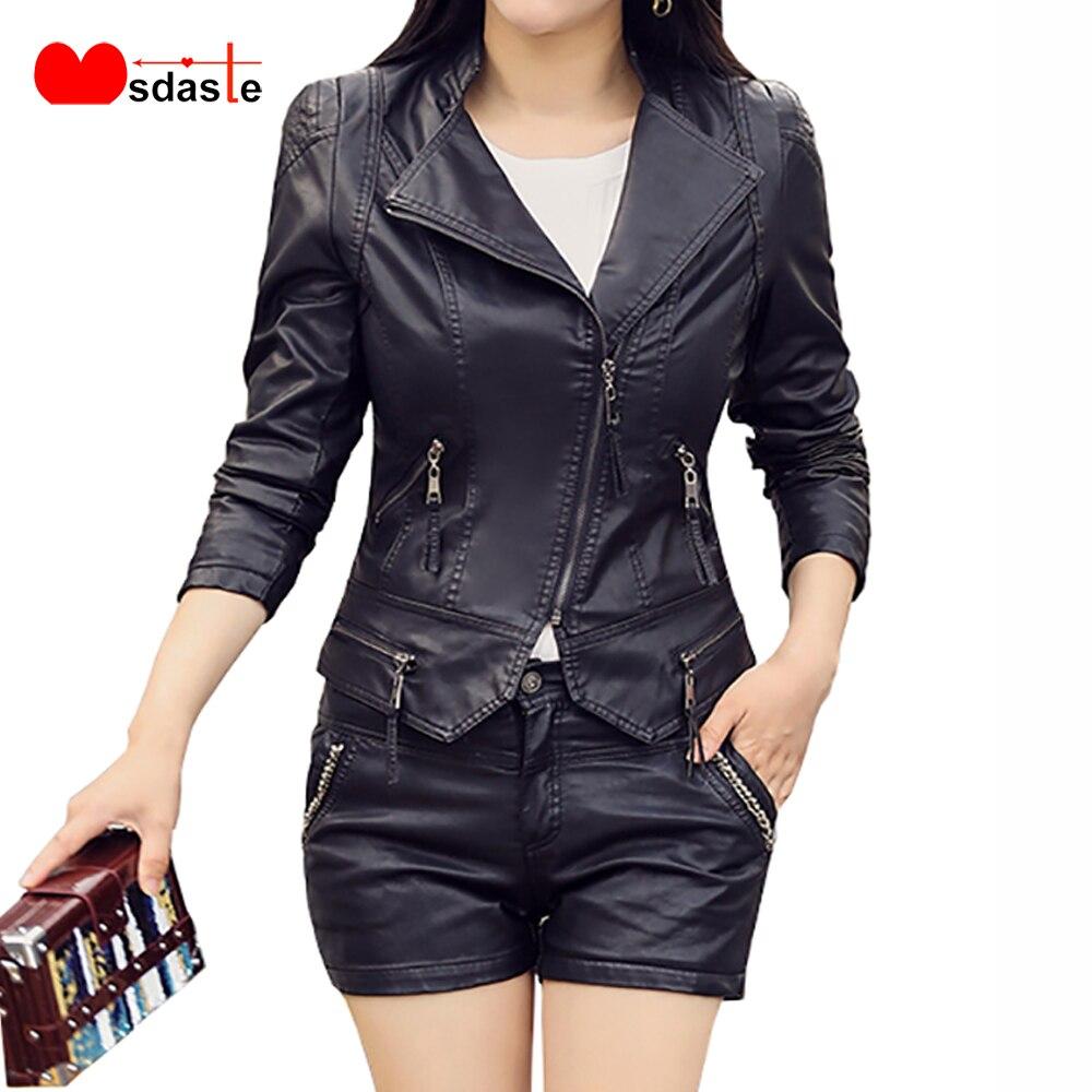 PU Leather   Jacket   Coat For Women New Autumn Casual Slim Soft Moto   Jacket   Biker Faux Lady Leather Streetwear Female   Basic     Jackets