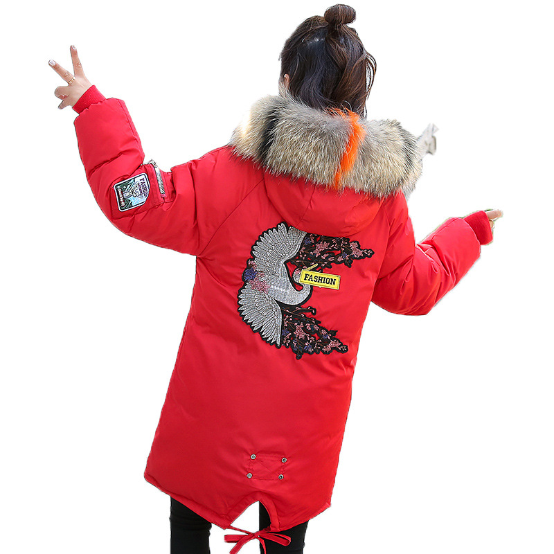 Women's Cotton Clothing 2019 Winter New Loose Long Thickening Color Fur Fox Collar   Parkas   Coat Embroidered Women Clothes