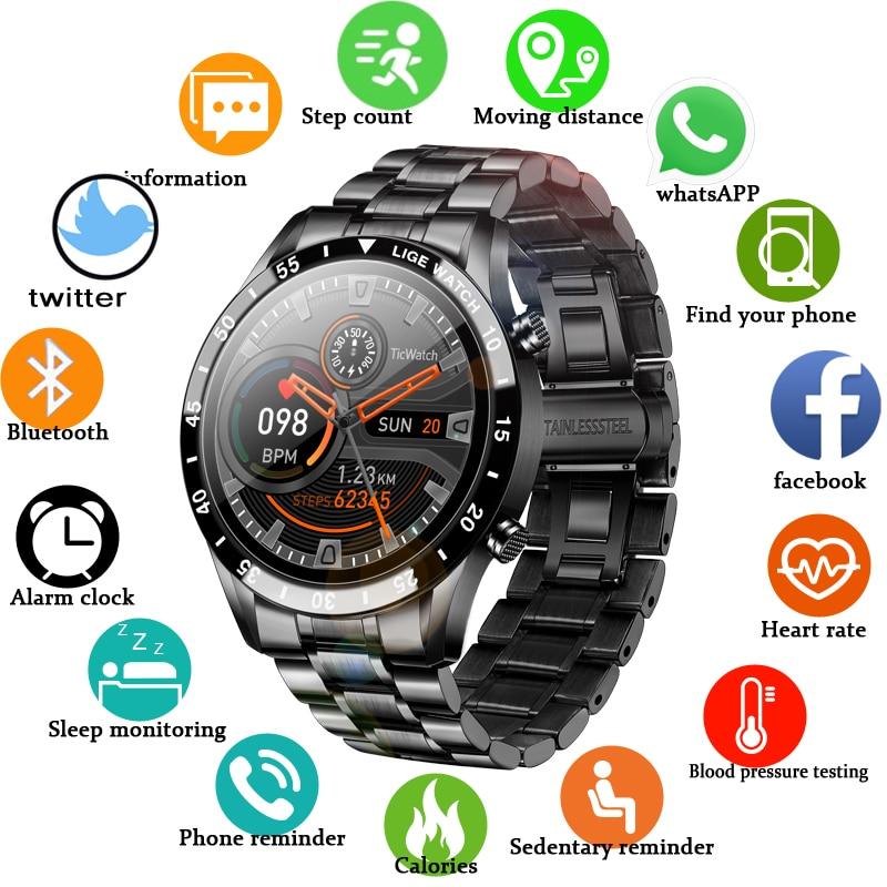 Lige 2020 círculo completo tela de toque banda aço luxo bluetooth chamada relógio inteligente à prova dwaterproof água esporte atividade fitness + caixa