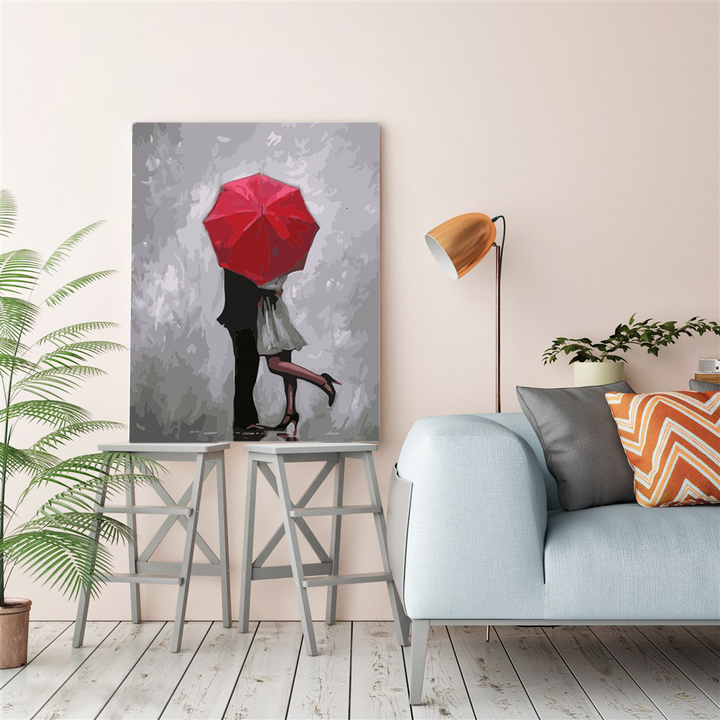 EverShine Oil Painting By Numbers Couple DIY Hand Painted Wall Art Red Umbrella Pictures By Numbers Home Decor-4