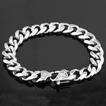 Granny Chic 15mm Wide 7-11 inch Mens Bike Silver Color Stainless Steel Miami Curb Cuban Link Chain Bracelet Jewelry