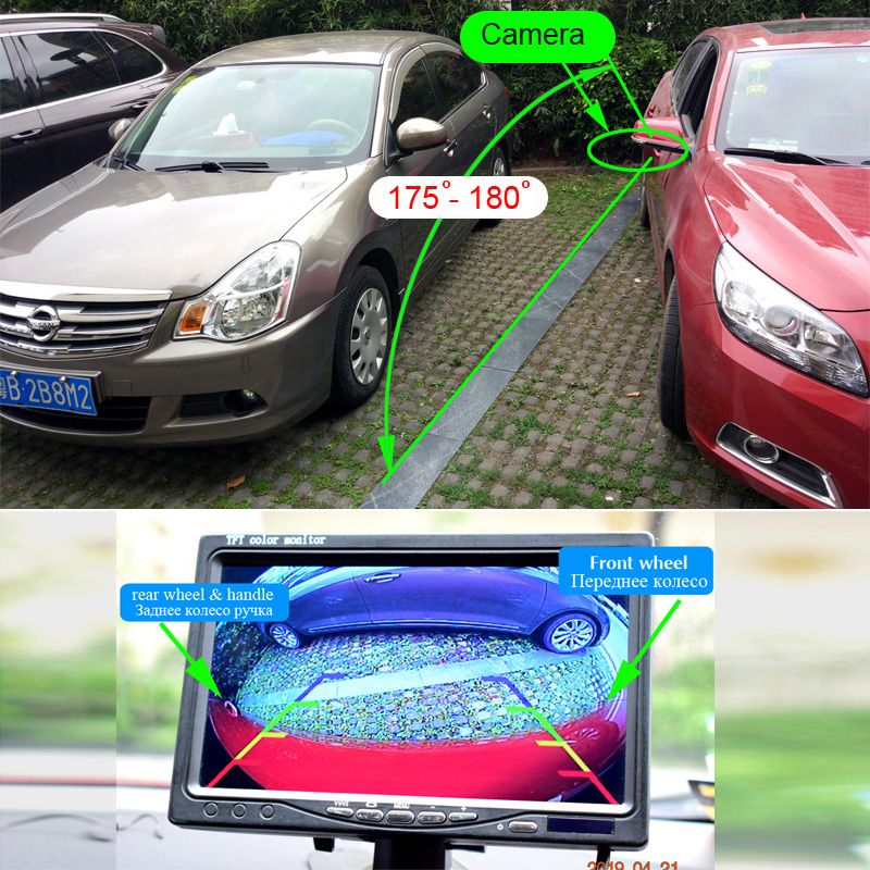 XCGaoon CCD 180 degree Fisheye Lens Car Rear Side front View Camera Wide Angle Reversing Backup Camera Night Vision Waterproof 1