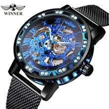 勝者公式スケルトン機械式時計男性ゴールデンメッシュストラップクリスタルメンズウォッチトップブランドの高級アナログ腕時計