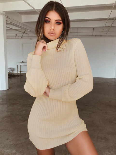 2020 Sexy turtleneck knitted dress fall winter women's