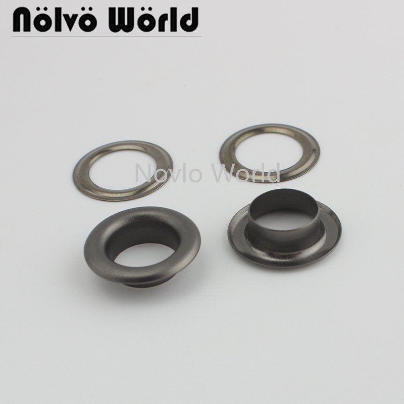 20 Pieces, Inner Width 11mm, Matte Gunmetal Metal Eyelets With Grommet For Leather Craft Shoe Belt Bag Tag Clothes Accessories