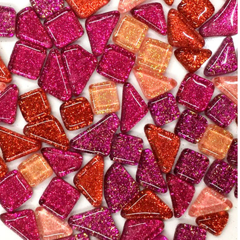 Pink /& Purple Mix Gloss Glass Mosaic Tiles 2.5cm Art Craft Supplies