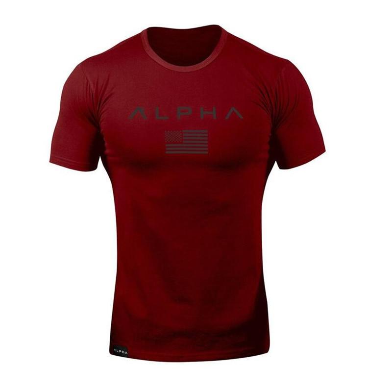 Nowa odzież moda T Shirt męskie bawełniane oddychające męskie koszulki z krótkim rękawem koszulka Fitness siłownie Tee Tight na