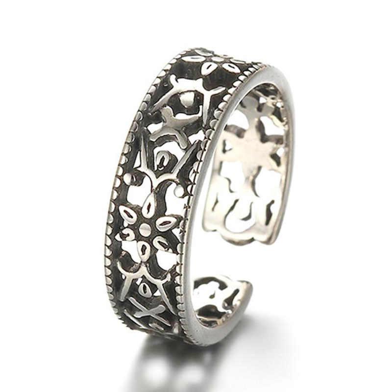 Clássico padrão flor escultura thail prata anel 925 prata esterlina oco abertura anéis para presentes femininos S-R144