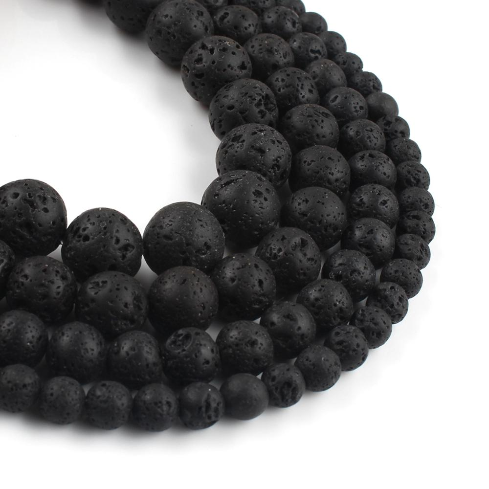Бусины Из Натурального вулканического камня, черные бусины из лавы, свободные промежуточные бусины для самостоятельного изготовления ювел...