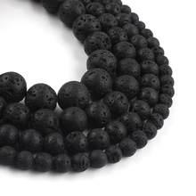 Contas espaçadoras para pulseira diy, contas de pedra de lava vulcânica natural de pedra negra vulcânica para fazer jóias, acessórios de pulseira 15