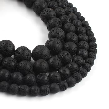 цена Natural Volcanic Rock Black Lava Stone Beads Loose Spacer Beads For Jewelry Making DIY Bracelet Accessories 15