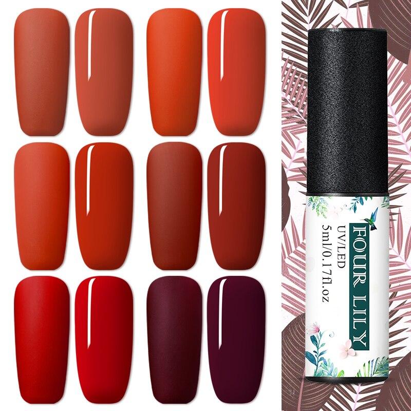 FOUR LILY 5ml Red Series Color Polish UV Gel Matte Effect Nail Polish Pure Color Soak Off Nail Art Gel Varnish Design Nail Gel