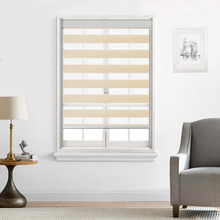 BERISSA Dual Layer Roller Shades Custom Cut To Size, Waterproof Blackout Zebra Blinds With Light Filtering Window Blinds