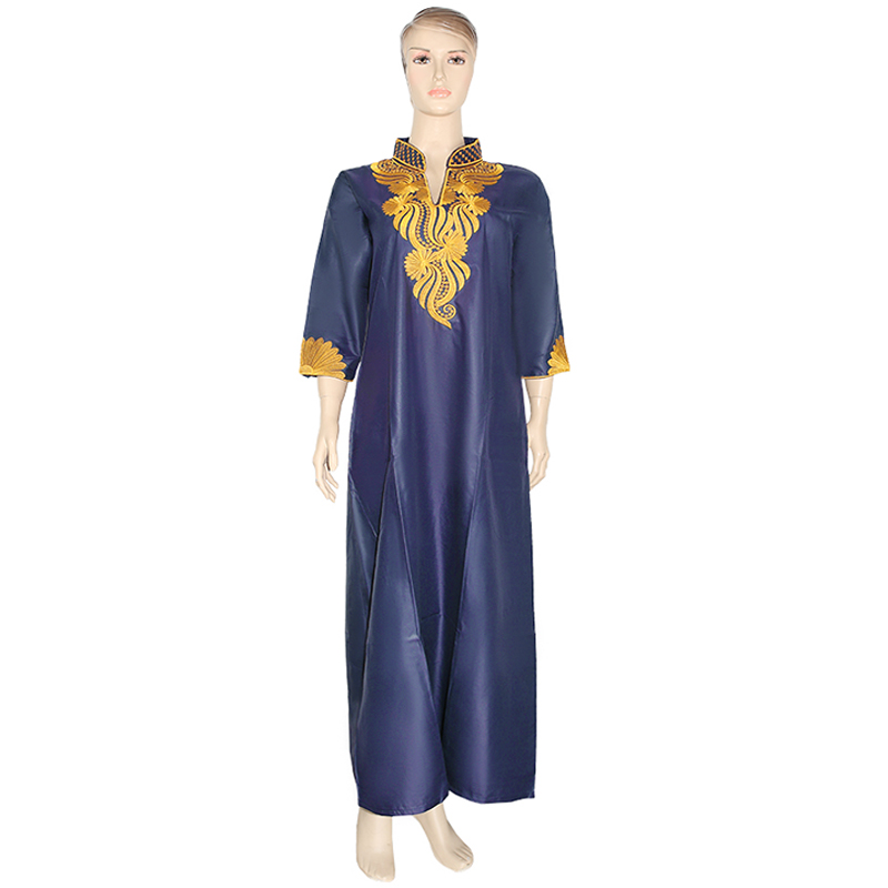 MD African Dresses For Women Ankara Dashiki Maxi Dress Gold Embroidered Floral Dress South Africa Ladies Clothes Large Size Robe