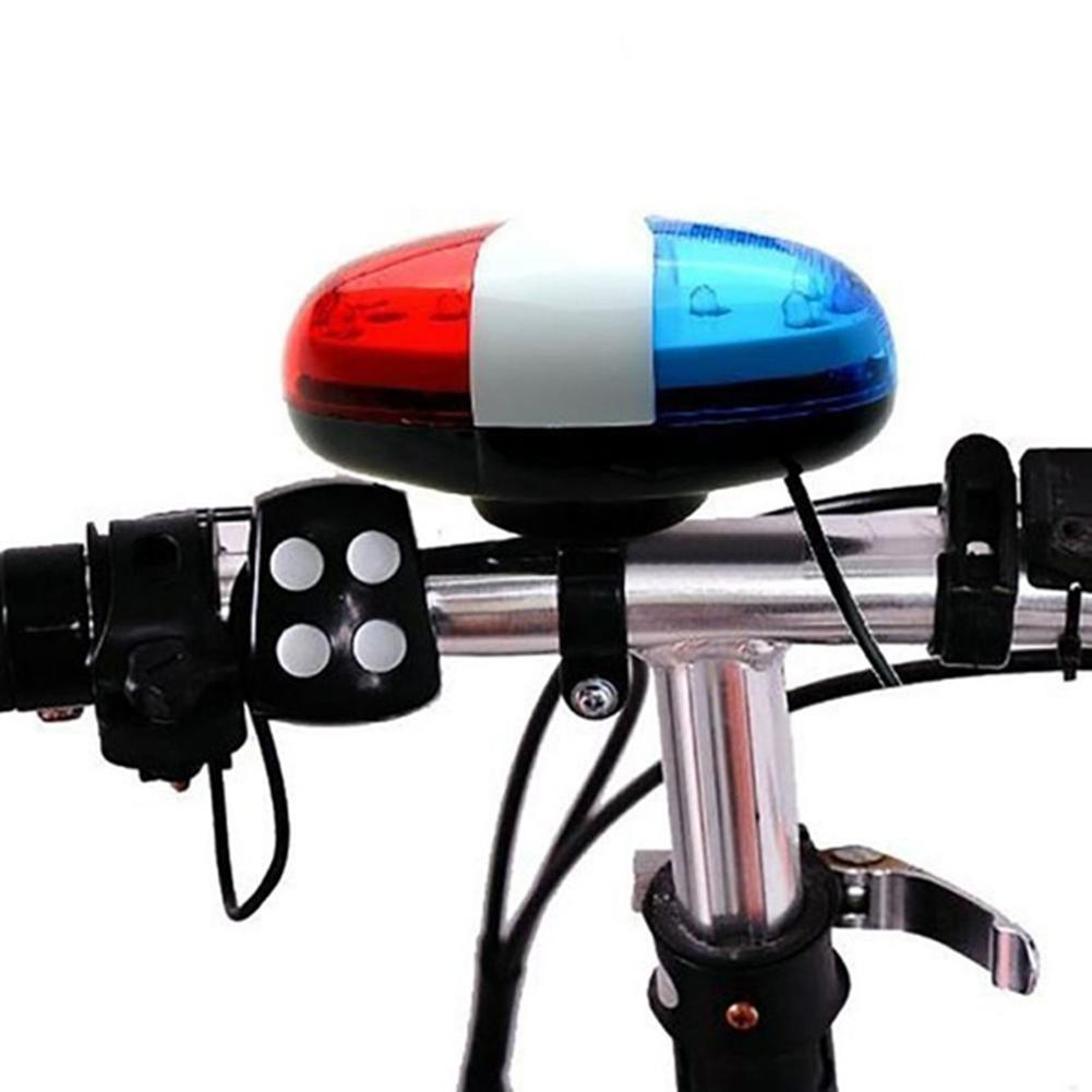 Bicycle Bell 6LED 4 Tone Bicycle Horn Bike Call LED Bike Police Light Electronic Siren Kids Accessories for Bike Scooter