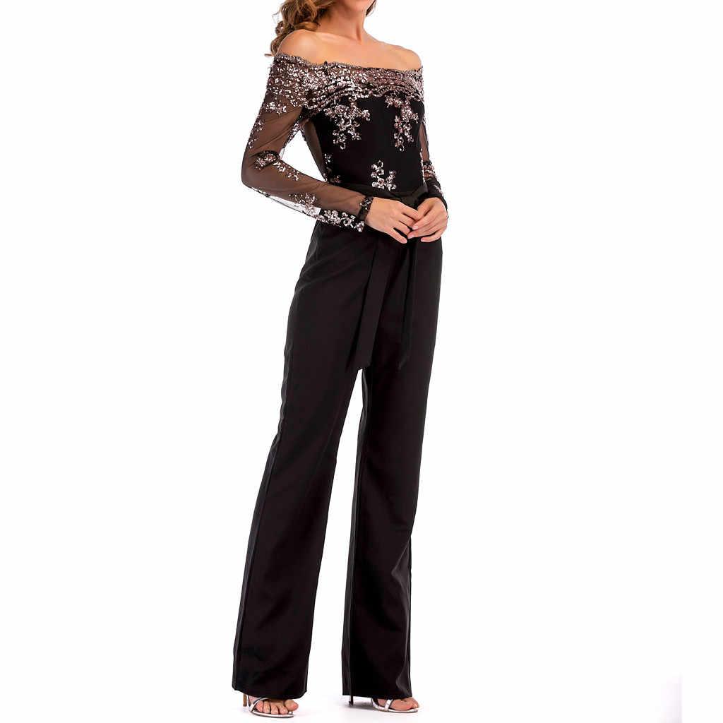 Women Fashion Jumpsuit Wide Leg Sequin Mesh Splice Cold Shoulder Long Sleeve Bodysuit Morden Tumblr Vintage Hipster